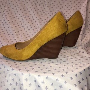 Yellow Mix No.6 suede wedges